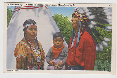 Cherokee Native American Indian Family X 1 Only Vintage Postcd..postally Unused