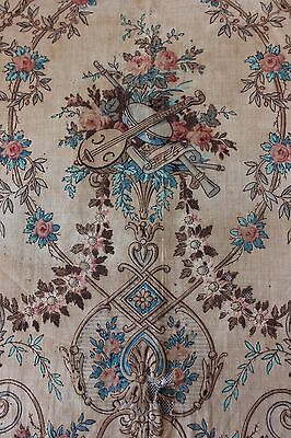 "Lovely Antique French 19thC HomeDec Fabric/Textile~Rococo With Roses~24""LX25""W"