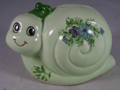 Vintage Inarco Japan Ceramic Hand Painted Snail Bank W/stopper Collectible Exc.