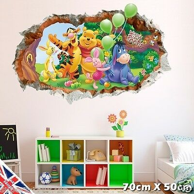 3D Winnie the Pooh Crack Smash Wall Stickers Decal Kids Nursery Baby Bedroom Art