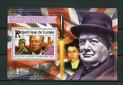 Guinea 2015 MNH Winston Churchill 50th Memorial 1v S/S Queen Elizabeth II Stamps