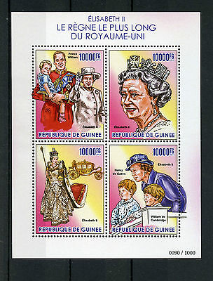 Guinea 2015 MNH Queen Elizabeth II Longest Reigning British Monarch 4v MS Stamps