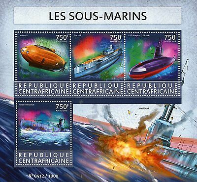 Central African Republic 2015 MNH Submarines 4v M/S USS Scorpion Unterseeboot 36