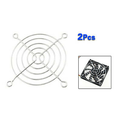 New 2 Pcs Silver 8cm Computer PC Case Fan Grill Protector Metal Finger Guard BT