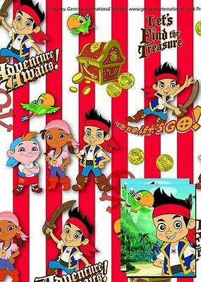Disney Jake Neverland Pirates Gift Wrap Paper Birthday Party Tags Present Kids