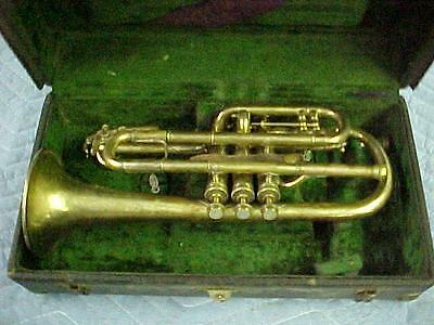 Antique Conn Perfected Wonder Cornet with mechanism, Great Ready to Play