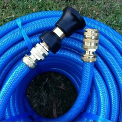 "Garden Water 50M Hose 18MM - 3/4"" Brass Fittings & Fire Nozzle 8/10 Kink Free"