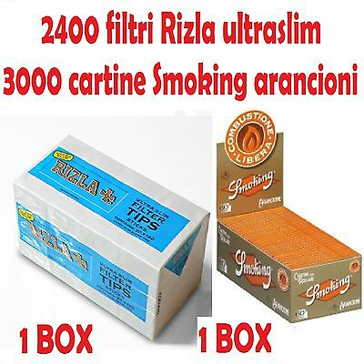 2400 Filtri Rizla Ultraslim + 3000 Cartine  Corte Smoking Arancioni