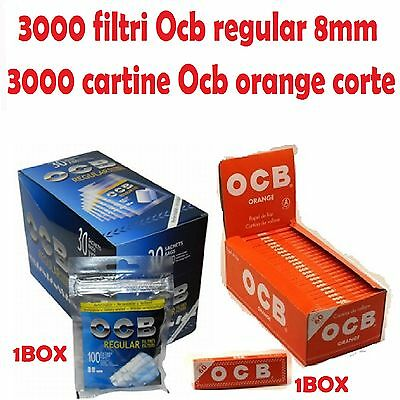 3000 FILTRI OCB REGULAR 8mm + 3000 CARTINE OCB ORANGE CORTE ARANCIONI