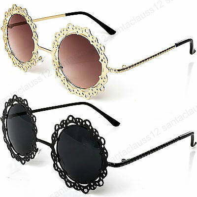 Round Hollow Out  Fashion Flower Sunglasses Women's UV400