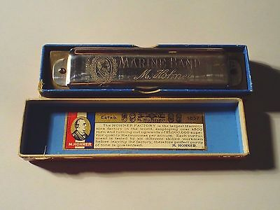 vintage WWII Hohner marine band harmonica rare star of David on inner label ,  C