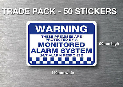 Monitored alarm Warning stickers 50 pack quality 7 year water & fade proof vinyl