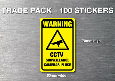 CCTV Warning stickers 100 trade pack quality 7 yr water & fade proof vinyl