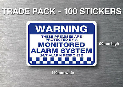 Monitored alarm Warning stickers 100 pack quality 7 yr water & fade proof vinyl