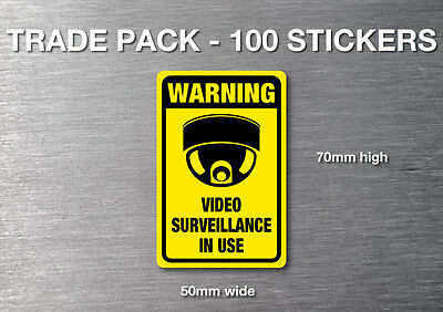 Video Surveillance warning stickers 100 pack 7 yr  water & fade proof vinyl