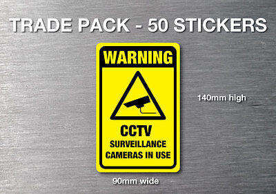CCTV Warning stickers 50 trade pack quality7 yr water & fade proof vinyl securit