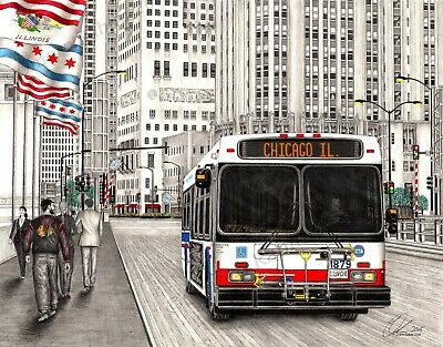 Chicago CTA Bus drawing- 18x24 inch print, direct from artist.