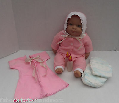 "BERENGUER 18"" Baby Doll Cloth Body Soft Vinyl 1960's outfit + Bottles + Diapers"