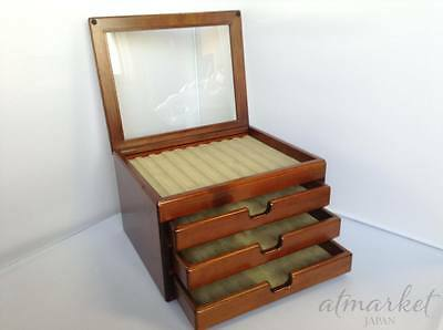 Fountain Pen Case Display 40 Slot Collection Wooden Stationery Storage JAPAN EMS