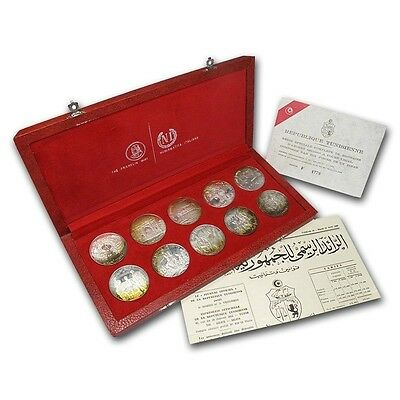 Tunisia 1 Dinar Set of 10, 1969, Silver Proof Coin, Mint, Franklin