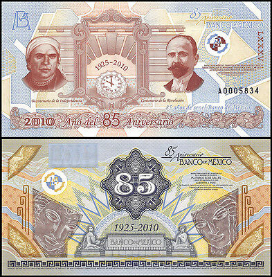 Mexico 80th Anniversary of Bank of Mexico, 1925 - 2010,Test Banknote,Specimen