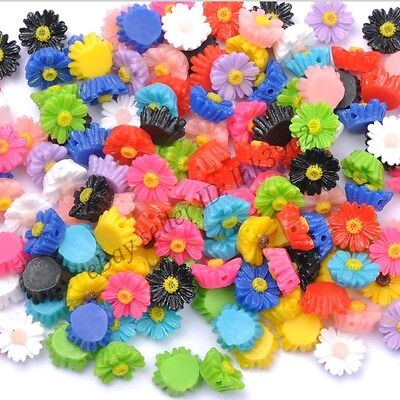 DIY 20Pcs Resin Sunflower Flower Flat Back Scrapbooking For Phone/ Craft 12MM
