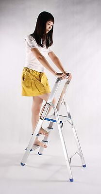 Folding 3-Step Aluminium Alloy Ladder with aluminium Steps, Silver Finish15601