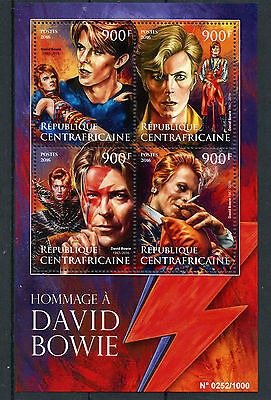 Central African Republic 2016 MNH Tribute to David Bowie 4v M/S Music Stars