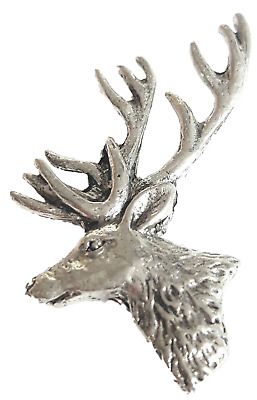 Stag Head Finely Handcrafted in Solid Pewter In UK Lapel Pin Badge