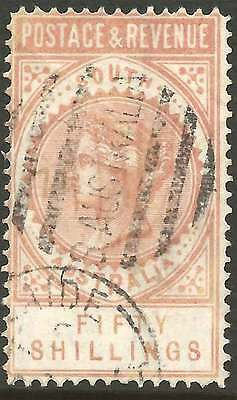 SOUTH AUSTRALIA 1886-96 LONG TYPE 50/- PINK POSTAGE & REVENUE ACSC42 fine used