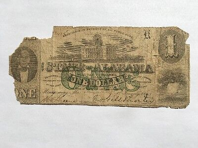 1863 State of Alabama $1 One Dollar Bill Civil War Confederate Currency Note