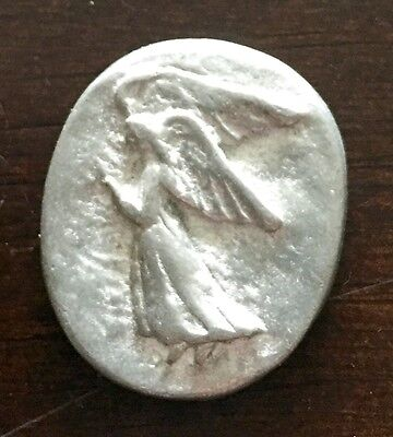 Silver Medallion Pocket Angel Charm Piece