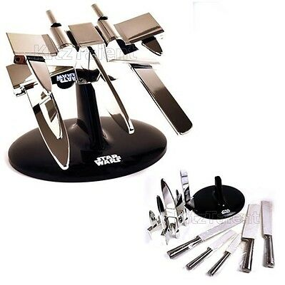 Kitchen Knives Block w/ 5 Knife Stainless Steel Plastic Star Wars X Wing -Chrome