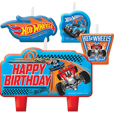 Hot Wheels Party Supplies CANDLE Set Of 4 Mini Moulded Genuine Licensed