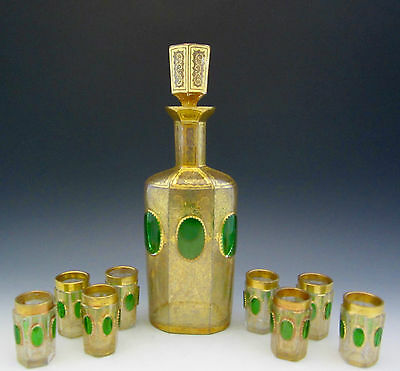 Antique MOSER CABOCHON DECANTER & 8 CORDIALS Gold Encrusted BOHEMIAN 10.5 inch