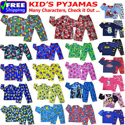 New Size 1-12 Kids Pyjamas Winter Boys Girls Sleepwear Shirt Nighties Top Tee Pj