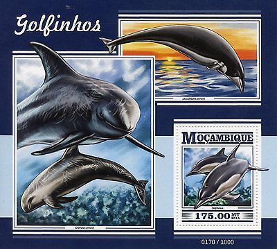 Mozambique 2015 MNH Dolphins 1v S/S Marine Animals Common Dolphin