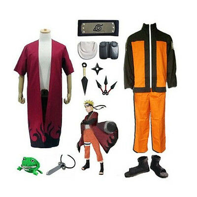 Anime Naruto Cosplay Costume Set Cloak Ninja shoes Headband Kunai Necklace Purse