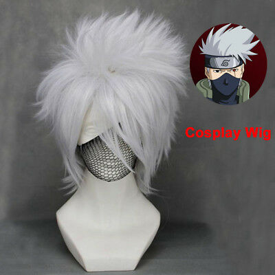 Anime Naruto Hatake Kakashi Layered Silver White Wig Cosplay Costume Accessory