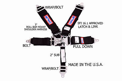Rjs Racing Equipment Pair Sfi 16.1 Safety Seat Belt Harness Black 50502-18-06