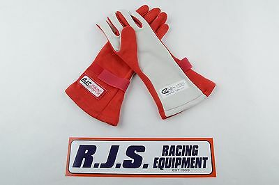 Rjs Racing Equipment Sfi 3.3/5 2 Layer Nomex Racing Gloves Small Red 20212-S-4