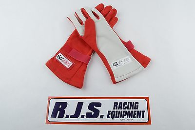 Rjs Racing Equipment Sfi 3.3/5 2 Layer Nomex Racing Gloves Xs Red 20212-Xs-4