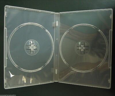 25 Standard DOUBLE 14mm HOLD 2 DVD Cover Disc Case + outer wrap insert CLEAR APC