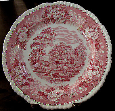 Adams ENGLISH SCENIC Pink Transfer Dinner Plate