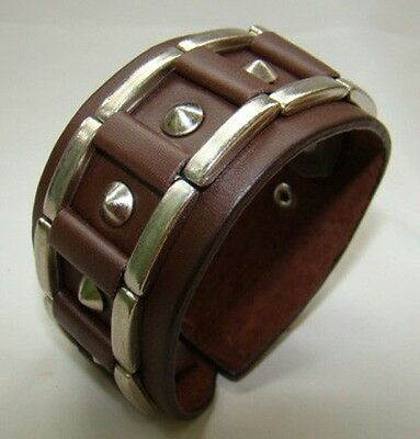 Beautifull Brown Leather Pipe Gothic Cuff Wrist Band Bracelet Wristband