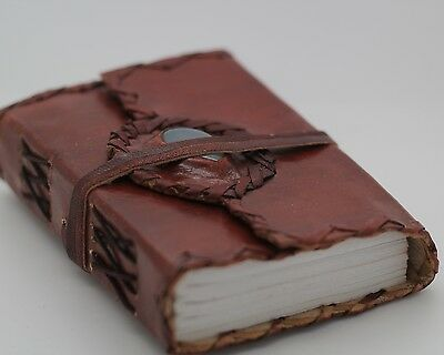 Wicca Spell Blank Book Of Shadows Leather Journal Wiccan Diary Stone Handmade