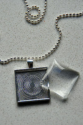 10 x DIY square silver plated pendant kit - 1""