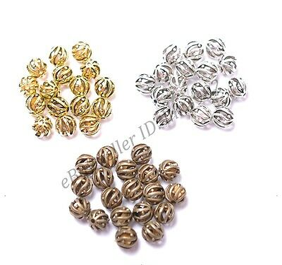 Tibetan Silver Round Hollow Spacer Beads Jewelry Supplies Findings 8MM 10MM