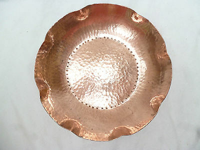 VINTAGE RETRO DECORATED LARGE COPPER BOWL - hand made by WEEDA Tasmania