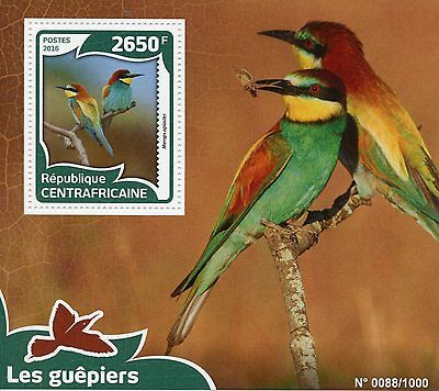 Central African Republic 2016 MNH Bee-Eaters 1v S/S Birds European Bee-Eater